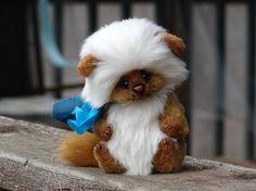 Brown sable white Fur Teddy Kitten Cat. Teddy by FeltSilkArtGift