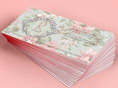 Vintage pink flowers Business card by SZeta on Creative Market