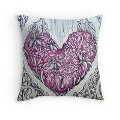 rose quartz stone tangled heart tattoo style cushion cover by Melanie Dann Quartz Stone, Rose Quartz, Tangled Tattoo, Buy Roses, Rose Tattoos, Original Art, Cushions, Tapestry, Throw Pillows