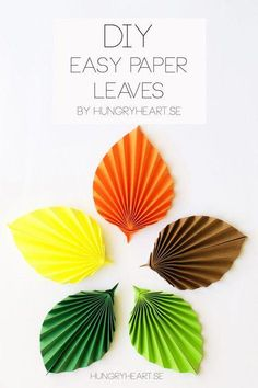 From Hungry Heart If you would like to learn how to make these easy paper leaves, check out the lovely photo tutorial. Giant Paper Flowers, Diy Flowers, Diy Paper, Paper Crafts, Origami Leaves, Quiling Paper, Paper Succulents, Paper Rosettes, Paper Weaving