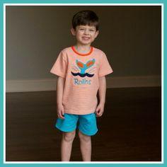 3/3/2014  Boy's Orange & Turquoise Whale Tail Shorts Set