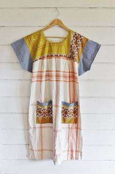Upcycled Womens Vintage Linens Mexican Dress Tablecloth Linen Orange Navy…