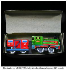 Magic Shunting Train (2 of 2). Vintage Tin Litho Plate Toy. Wind-Up / Clockwork Mechanism.