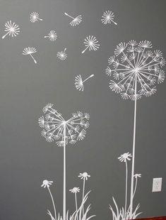 Flowers / Floral Mural / Wall Art / Chalkboard Art Design Inspiration for Spring time Dandelion Art, Dandelion Designs, Dandelion Seeds, Dandelion Drawing, Dandelion Wallpaper, Window Art, Chalk Art, Embroidery Patterns, Crafts