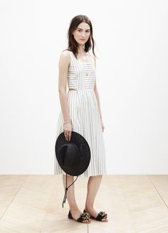 Madewell cutout sundress worn with the straw fedora + slim Thea pom-pom sandal. See something you like? Pre-order your favorite pieces by phone (866 544 1937) or email shopfirst@madewell.com. #springmadewell
