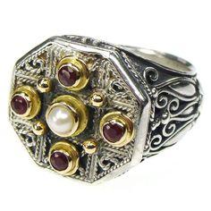 Ruby Stone Cross Octagon Ring