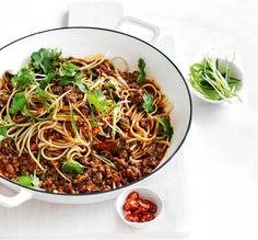 5 Noodle Recipes We Love. Whether you're in the mood for bolognese or wanting something with an Asian flair our list of 5 Noodle Recipes We Love is sure to have something for everyone. Mince Recipes, Pork Recipes, Asian Recipes, Cooking Recipes, Ethnic Recipes, Yummy Recipes, Yummy Food, Savoury Recipes, Quick Recipes