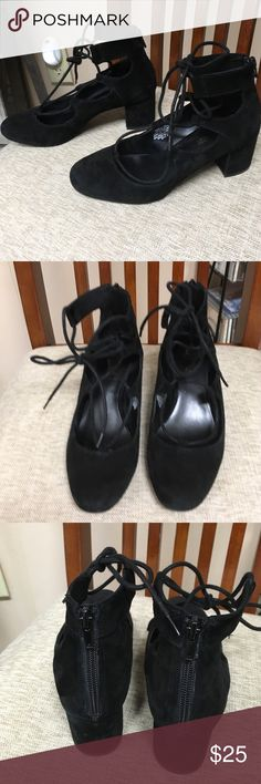 Black suede lace ups with back zipper. Nine West Comfy and cute. Suede with zipper in the back. Worn a few times . Loved but need a size five Nine West Shoes Heels