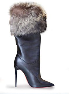 Hate boots, love these. Fur Boots, Heeled Boots, Bootie Boots, High Heel Boots, High Heels, Sexy Stiefel, Christian Louboutin Outlet, Sexy Boots, Fashion Boots