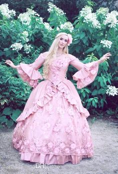 2015 Corset Victorian Ball Gown Wedding Dress Strapless Long Sleeves Gothic Pink…