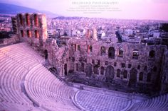 Can you imagine 17,000 ancient Greeks taking in a performance in this beautiful outdoor theatre that rests on the southwest slope of the Acropolis?  This is my sunset photo of the Theatre of Dionysus Eleuthereus - which was built around 500 BC. -- www.melawend.com