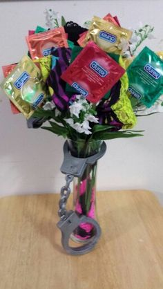 A beautiful condom bouquet!