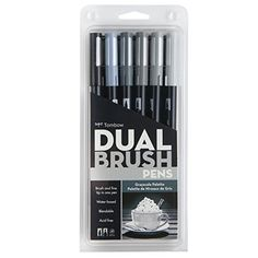 Portrait Dual Brush Pens are available in a 6 color set. Tombow Dual Brush Pens offer a flexible brush tip and fine tip in one marker. The brush tip works like a paintbrush to create fine, medium or b Tombow Dual Brush Pen, Brush Pen Art, Arts And Crafts Supplies, Art Supplies, Blender Pen, Brush Markers, Cute School Supplies, Marker Art, Pen Sets