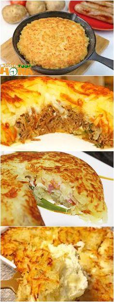 Batata Suíça #BatataSuíça #Receitatodahora Crock Pot Recipes, Cooking Recipes, Portuguese Recipes, Savoury Cake, Antipasto, Food Porn, Dinner Recipes, Food And Drink, Yummy Food