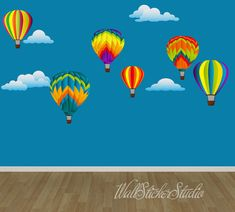 Hot Air Balloons Decal, Reusable Non-toxic eco-friendly Fabric Wall Decal Stickers