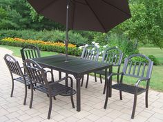 Oakland Living Rochester Wrought Iron 9 Pc. Dining Set with Umbrella | 6137-3830-4005-BN-4101-9-HB