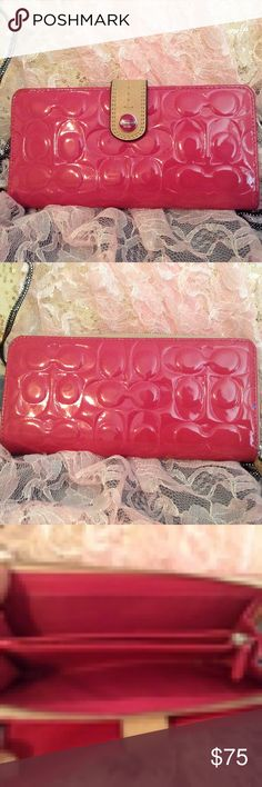 Pink Coach Embossed Wallet 🎈SOLD ON OTHER SITE🎈 This Is A Gorgeous Pink Coach Embossed All Patent Genuine Leather And Full Zipper Wallet That's In Mint Condition! It Has A Beautiful Tan Leather Strap And Snap Closure  , 12 Credit Card Slots And ID Window And Solid Pink Genuine Leather Inside And The Zipper Functions Perfectly! This Is In Mint Condition! No Marks Or Damage At All Will Show More Pictures By Request ! I Purchased This To Use And Doesn't Math My Coach Bag !it's Immaculate…