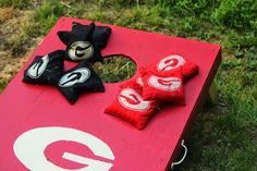 no gameday is complete without team cornhole boards! | University of Georgia | www.peachstateofmindleh.blogspot.com | University Of Georgia, Cornhole Boards, Athens, Peach, Crafts, Manualidades, Peaches, Handmade Crafts, Craft