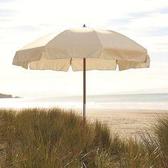 Beach Cabanas & Umbrellas | Natural white umbrella