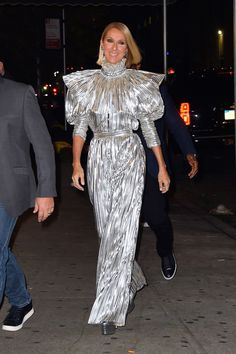 Emilia Clarke, Celine Dion, Zendaya, and More of the Week's Best Dressed Celine Dion, Gwen Stefani, Nyc Fashion, Fashion Moda, Glamour Hollywoodien, Satin Trousers, Party Frocks, Vogue, Holiday Party Outfit