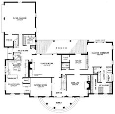 First Floor Plan of Colonial   Plantation   Traditional   House Plan 86214