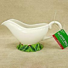 Holiday Ceramic Gravy Boat Sauce Server Sleigh Bell Bistro Christmas Tableware