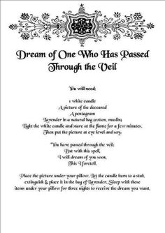 Spell to dream of deceased loved one