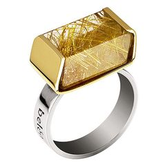 Belén Bajo yellow gold, silver and rutilated quartz ring.