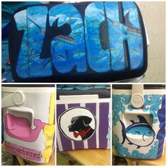 Hand painted coolers. Fraternity coolers. Southern tide. Southern proper. Guy Harvey. Vineyard vines