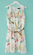 White Round Neck Sleeveless Ruffles Chiffon Dress $32.80