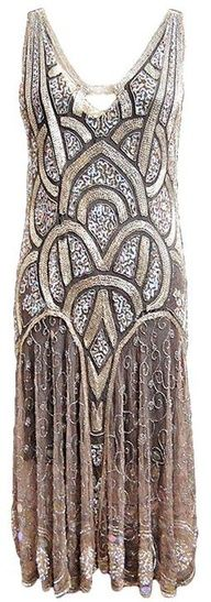 Flapper Dress  ~ 1920s The epitome of flapper dresses. Draws inspiration from art deco and resembles the Chrysler building A LOT!!