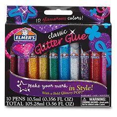 Elmer's Washable Glitter Glue Pens, Classic Rainbow, Pack of 10 Pens - Great For Making Slime Elmer's Glitter Glue, Glitter Crafts, Glitter Slime, Glitter Gif, Glitter Lipstick, Glitter Paint, Diy For Kids, Crafts For Kids, Easy Crafts
