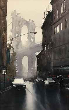 Watercolor painting by Daniel Marshall artist. Watercolor paintings can be exciting, abstract, tight, mysterious, pretty — and divisive among some folks. Just ask Daniel Marshall. Watercolor City, Watercolor Sketch, Watercolor Artists, Watercolor Landscape, Watercolor Portraits, Watercolor Flowers, Watercolor Art Paintings, Watercolors, Urban Landscape