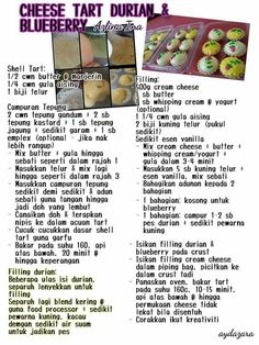 Cheese tart durian dan blueberry Molten Cake, Cheese Tarts, Biscuit Recipe, Asian Recipes, Cookie Recipes, Yogurt, Cupcake Cakes, Blueberry, Snacks
