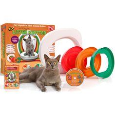 The Litter Kwitter is the perfect training kit to help you toilet train your cat. You can train your cat in three easy steps to use the toilet and say goodbye to the litter tray forever.