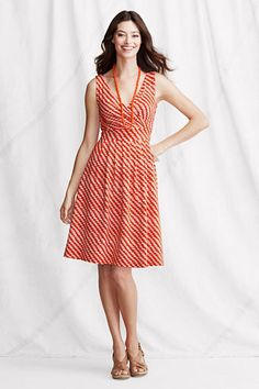 love the prints! wish i can wear it! Womens Sleeveless Cotton Modal Pattern Fit and Flare Dress from Lands End #GiveMomStyle