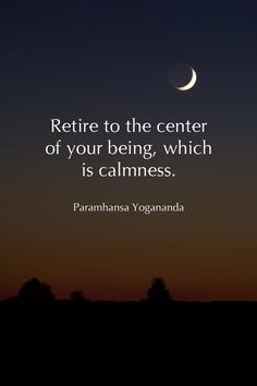 retire to the center of your being, which is stillness. - Yogananda