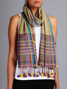 Buy Olive Multi Color Cotton Checks Tassel Handwoven Stole Accessories Scarves & Stoles Bhujodi Roots and Dupattas from Kutch Online at Jaypore.com