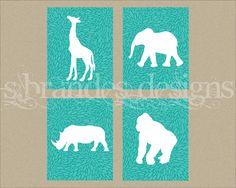 Set of Four 8x10 Graphic Print, Safari Animal Nursery Art Set, Elephant, Giraffe, Gorilla, Rhino CUSTOM COLOR Nursery Prints. $50.00, via Etsy.  Yellow