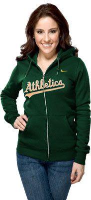 Oakland Athletics Womens Nike Green Classic Full-Zip Hooded Sweatshirt