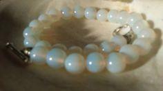 """Men's Beaded Handmade Bracelet Sri Lanka Moonstones 8mm and Silver 900 8"""".5 #Handmade #Beaded"""
