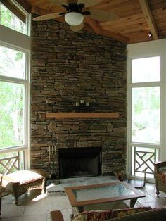 corner fireplaces | Screened Porch with Corner Fireplace - Screened Porches Photo Gallery ...