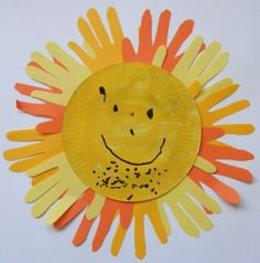 Kids Outdoor Summer Crafts - Bring a little sunshine into your home with this super easy sun handprint craft for summer! And as it involves some painting, some tracing, some cutting and some sticking, it proves a particularly popular craft for kids!