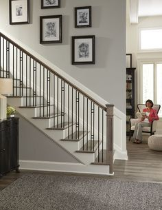 Plain bar balusters can be paired with a variety of balusters for beautiful stair designs. Paired here with the 3404 baluster and 4097 box newel. Carpet Staircase, Railing Design, Staircase Railings, Wrought Iron Stairs, Staircase Railing Design, Interior Stair Railing, Stairs Design, Stairs, Basement Design