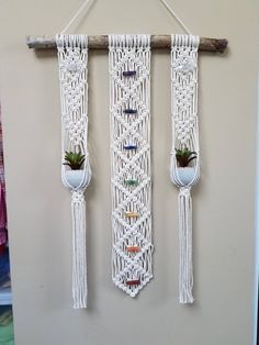 Macrame Chakra wall hanging, plant hanger combo, healing crystals, meditation, y. Macrame Design, Macrame Art, Macrame Projects, Macrame Knots, Macrame Wall Hanging Patterns, Macrame Patterns, Hanging Succulents, Hanging Plants, Chakra Balancing