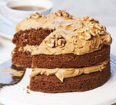 Make a delicious coffee & walnut cake with this easy recipe, perfect for everyday baking and occasions. Find more cake recipes at BBC Good Food. Cake Recipes Bbc, Bbc Good Food Recipes, Baking Recipes, Sweet Recipes, Dessert Recipes, Desserts, Coffee Icing, Coffe Cake, Coffee And Walnut Cake