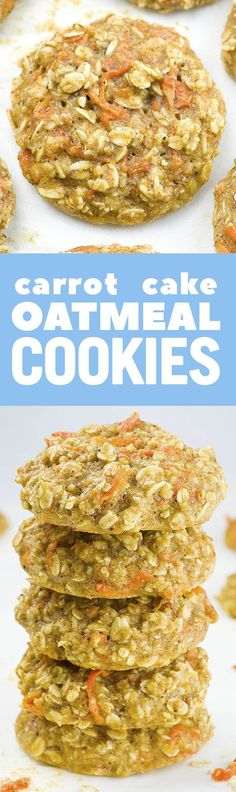 Carrot Cake Oatmeal Cookies are easy, yummy and healthy recipe that  is perfect clean eating breakfast idea!