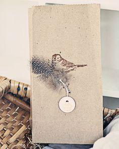 custom paper bag with natural trim ~ links to a creative blog / graphic designer