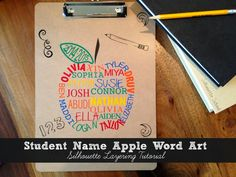 Finished student name apple word art clipboard