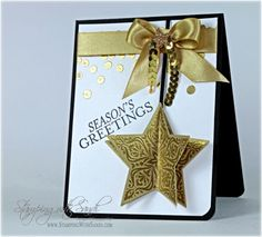 handmade Christmas card ... Bright and Beautiful  star  ornament with folded out sides ... gold and ivory ... luv it!